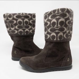 "Coach ""Tatum"" Wool and Suede Logo Foldover Boots 7"